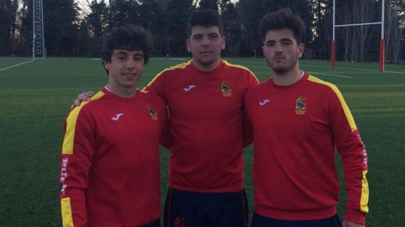Els tres representants del Rugby Sant Cugat amb la selecció espanyola / Font: Rugby Sant Cugat