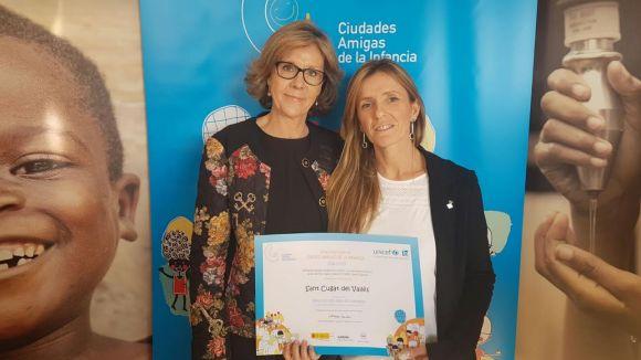 Esther Salat, a la dreta, amb la presidenta d'Unicef Catalunya, Anna Folch / Foto: Cedida