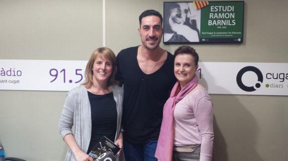 Glòria Zapater, Dani Curto i Laura Esteve, a l'estudi de ràdio Ramon Barnils