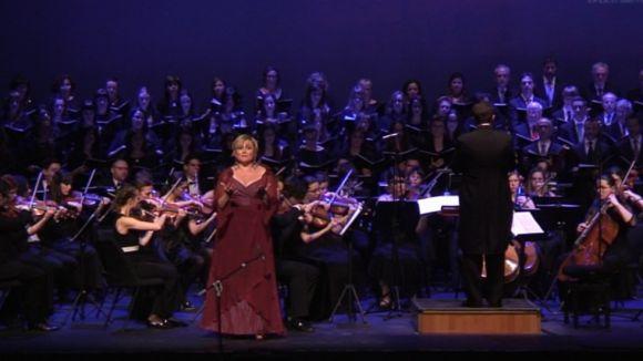 La soprano Maribel Ortega en un instant del concert al Teatre-Auditori