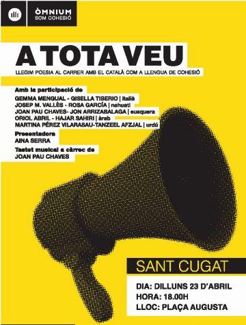 Òmnium i l'Ajuntament organitzen una lectura de poemes pública per Sant Jordi