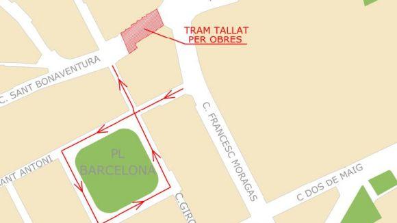 Tall al carrer de Sant Bonaventura per unes obres de millora del paviment