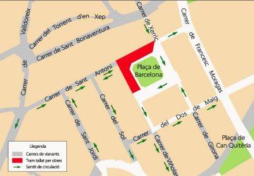 Nou tall de trànsit a la plaça de Barcelona i els carrers de Xerric, Sant Antoni i Viñolas