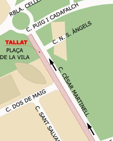 El carrer de Cèsar Martinell tindrà un carril tallat dimarts al matí