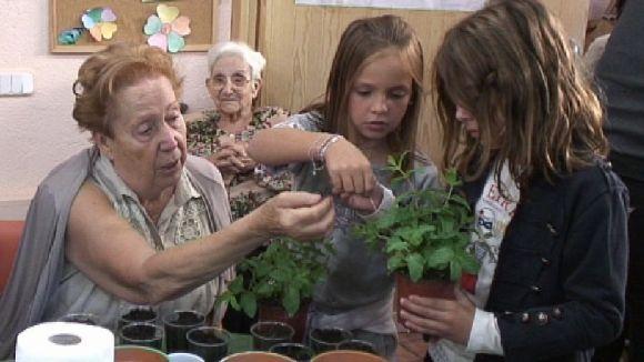 Grans i petits es coneixen mútuament en un taller de jardineria