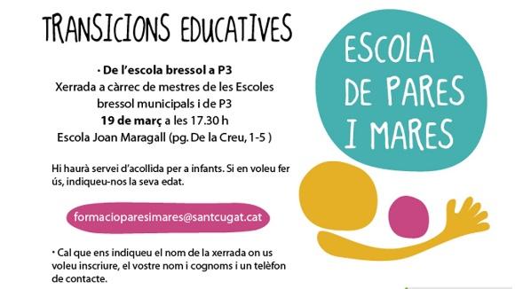 Escola de pares i mares: 'Transicions educatives - De l'escola bressol a P3'