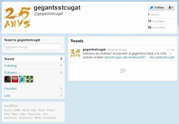 Els Geganters de Sant Cugat s'estrenen a Twitter