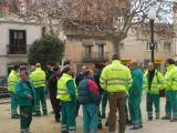 Els treballadors s'han concentrat aquest matí a la Plaça Barcelona.