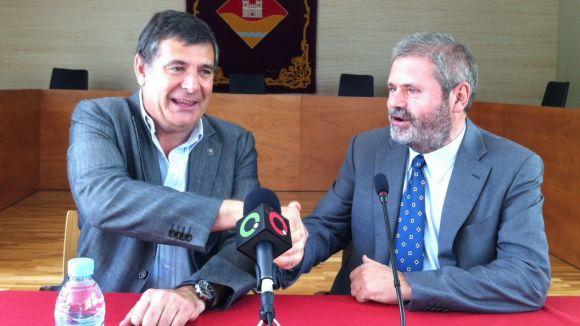 Josep Puig i Miquel Duran durant la roda de premsa de la signatura