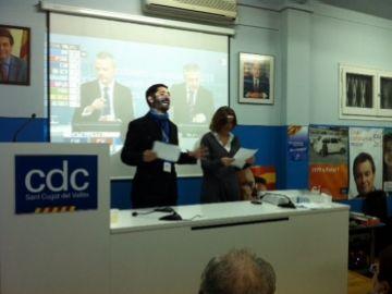 Jordi Puigneró i Mercè Conesa anunciant la victòria de CiU a Sant Cugat