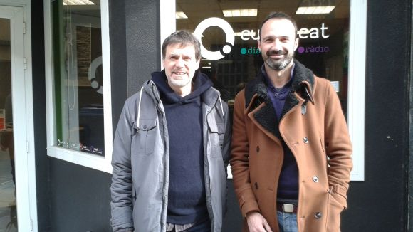 El violinista Sergi Claret (dreta) amb el col·laborador del SAF Xavier Blanch