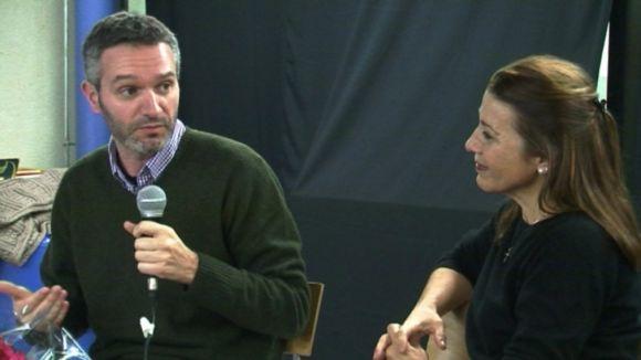 Pere Riera i Emma Vilarasau, durant la xerrada d'aquest dilluns